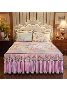 Pinch Pleated Ruffled Chic Style Pleasantly Cool 3-Piece Cotton Lace Bed Skirt Ice Mat Sets