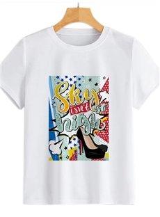 Beddinginn Cartoon Printed High Heel Pattern Summer Women's T-Shirt