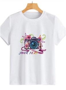 Beddinginn Floral Round Neck Standard Short Sleeve Casual Women's T-Shirt