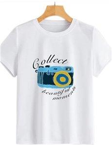 Beddinginn Round Neck Short Sleeve Standard Hand Painted Straight Women's T-Shirt