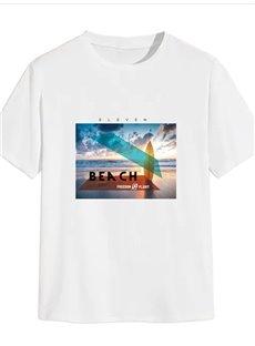 Beddinginn Casual Print Letter Senery Short Sleeve Men's T-shirt