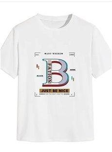 Beddinginn Casual Print Letter Straight Men's T-shirt