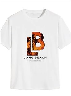 Beddinginn Round Neck Letter Print Casual Straight Men's T-shirt