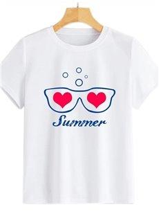 Beddinginn Short Sleeve Round Neck Heart Shaped Standard Summer Women's T-Shirt