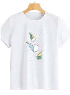 Beddinginn Short Sleeve Round Neck Standard Geometric Fashion Women's T-Shirt