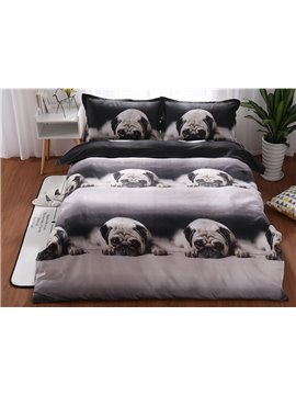 Crease-resistant Cute Pekingese Printed 3-Piece 3D Polyester Bedding Sets/Duvet Covers