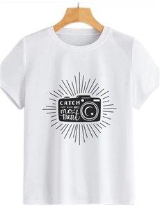 Beddinginn Round Neck Short Sleeve Hand Painted Standard Straight Women's T-Shirt