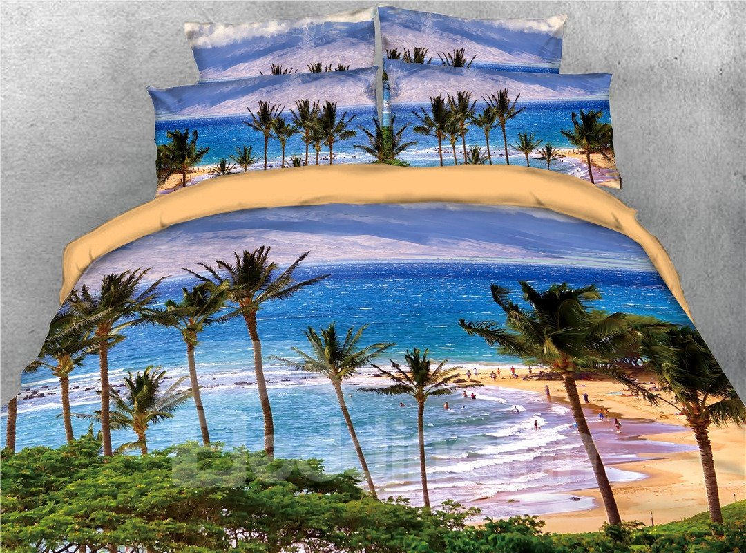Tropical Beach Island Sea Wave with Palm Tree Printed 5-Piece 3D Bedding Sets/Comforter Sets