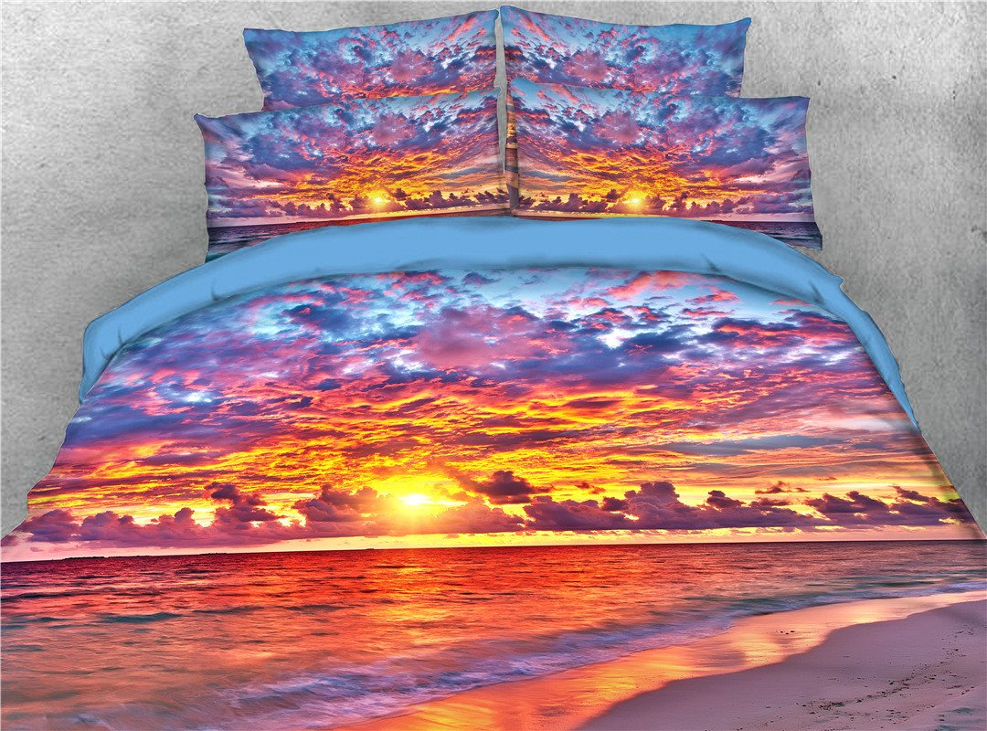 Sky Clouds Sunset Sea Printed 5 Piece 3d Bedding Sets Pic