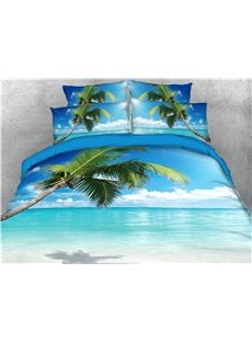 Palm_Tree_Leaves_and_Blue_Sea_Beach_Printed_5Piece_3D_Bedding_SetsComforter_Sets