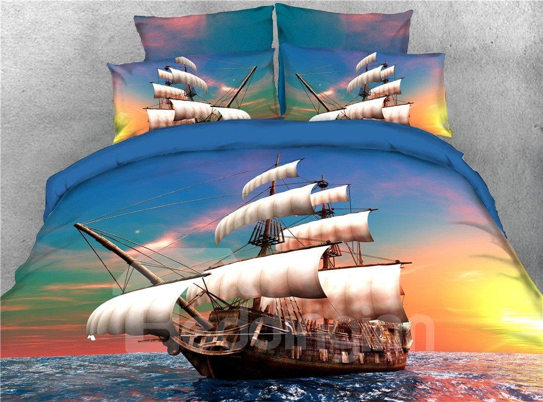 Sailing Ship Maritime Theme Sunset View Printed 5 Piece Pic
