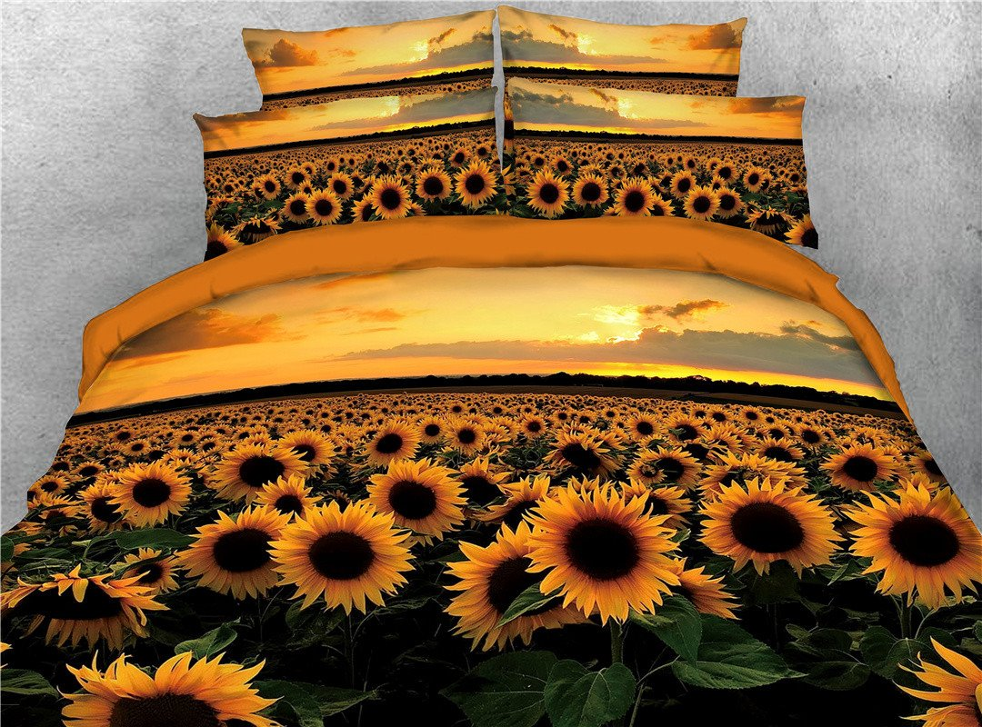 Gorgeous Sunflower Sunset Printed 5 Piece Bedding Sets Pic
