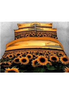 Gorgeous_Sunflower_and_Sunset_Printed_5Piece_Bedding_SetsComforter_Sets