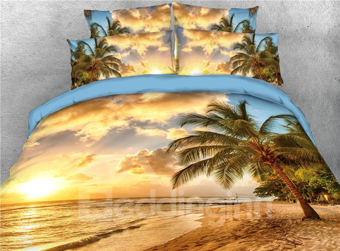 Palm Tree Golden Beach Seaside Printed 5 Piece 3d Bedding Pic