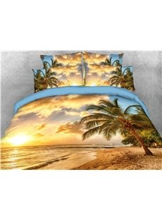 Palm_Tree_and_Golden_Beach_Seaside_Printed_5Piece_3D_Bedding_SetsComforter_Sets