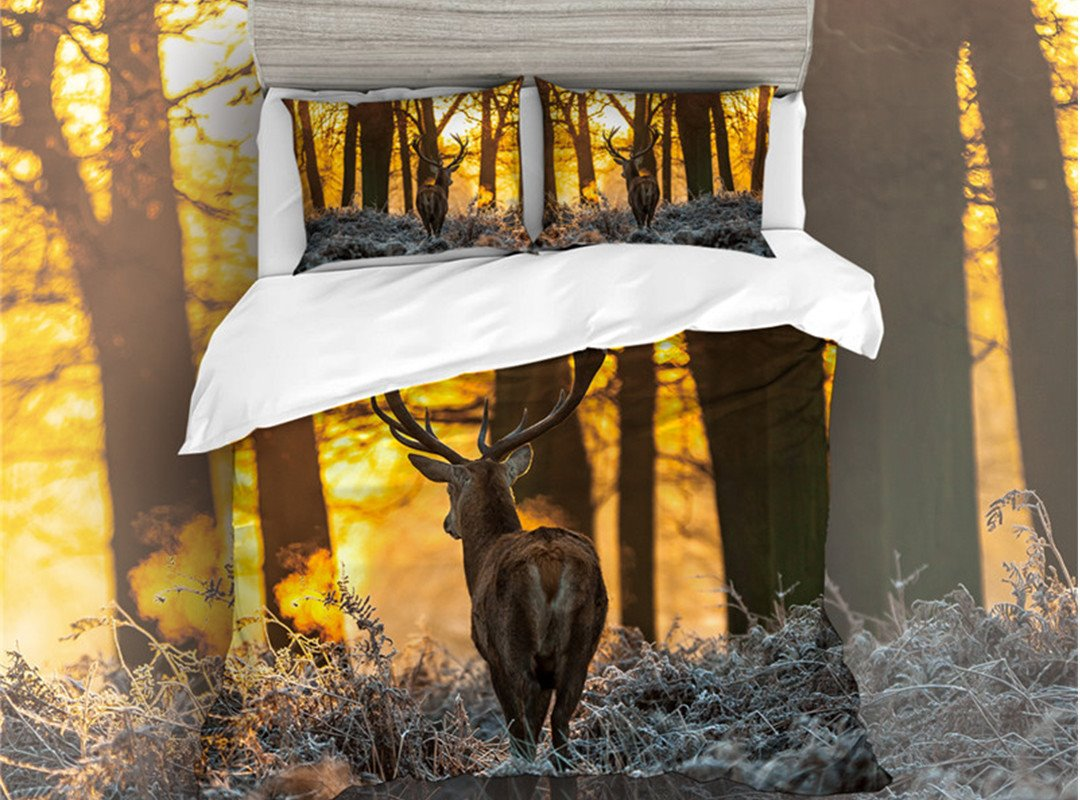Comfortable and Not Easy To Dirty Sika Deer Printed 5-Piece Bedding Sets