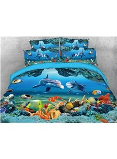 Sea World Dolphin and Fish Printed 5-Piece 3D Bedding Sets/Duvet Covers