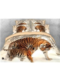 Tiger Mother and Baby Snow Printed 5-Piece 3D Bedding Sets/Duvet Covers