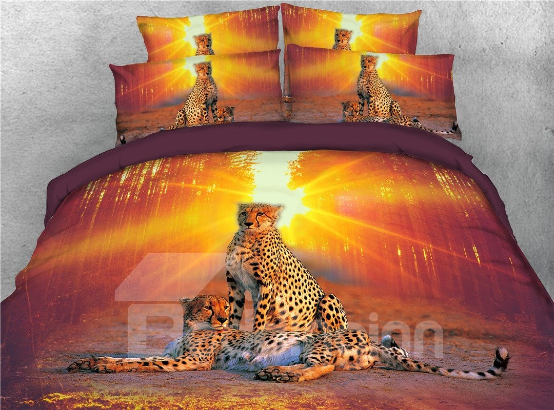 Leopard and Sunset Jungle Printed 3 Pattern 5-Piece 3D Bedding Sets/Duvet Covers