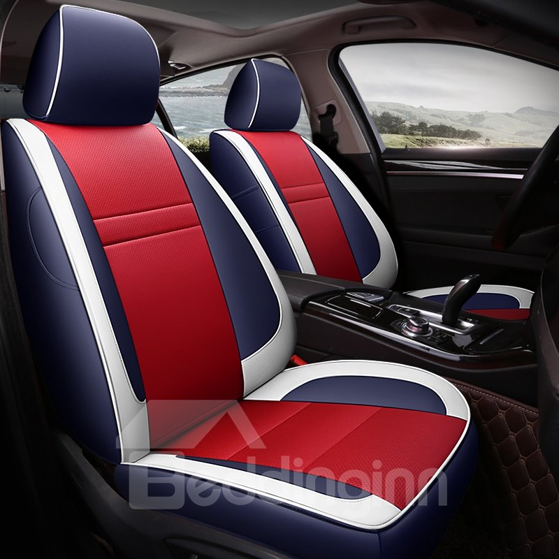 Color Block Modern Pu Leather Car Seat Cover Pic