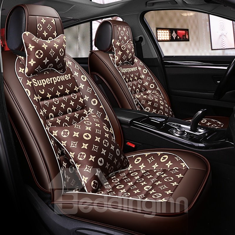 Floral Pattern Pu Leather Universal Car Seat Cover Pic