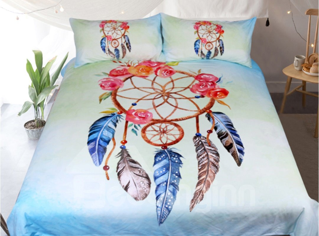 Dream Catcher And Red Rose Printed Polyester 3-Piece Bedding Sets/Duvet Covers