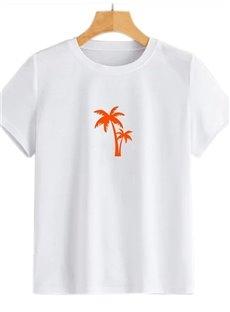 Beddinginn Short Sleeve Standard Round Neck Hand Painted Straight Women's T-Shirt