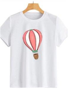 Beddinginn Color Block Short Sleeve Standard Round Neck Straight Women's T-Shirt