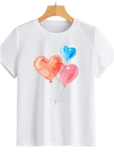 Beddinginn Standard Heart Shaped Short Sleeve Round Neck Spring Women's T-Shirt
