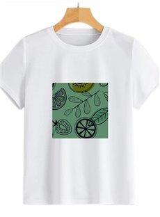 Beddinginn Standard Round Neck Plant Short Sleeve Simple Women's T-Shirt