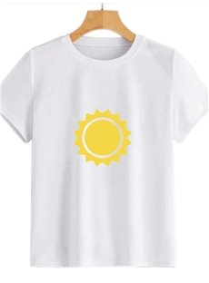 Beddinginn Standard Round Neck Hand Painted Short Sleeve Straight Women's T-Shirt