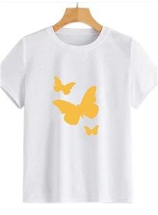 Beddinginn Standard Round Neck Short Sleeve Hand Painted Fall Women's T-Shirt