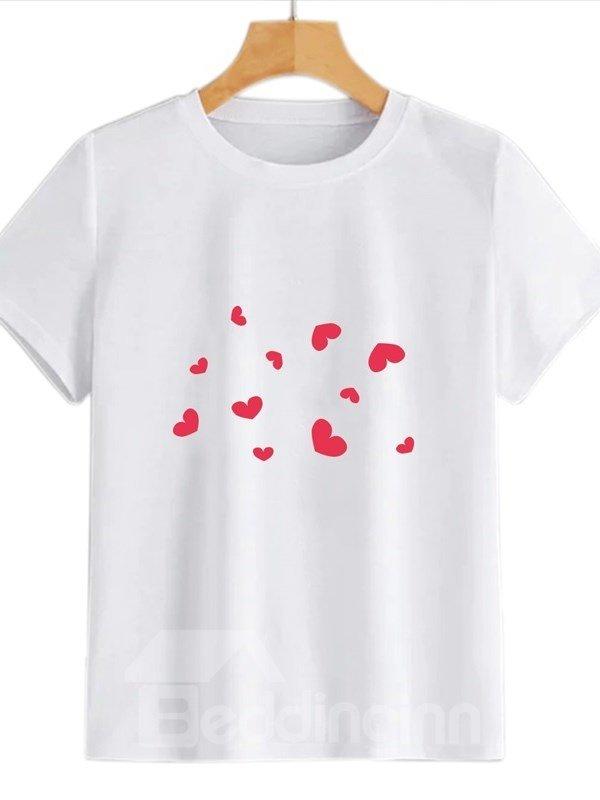 Beddinginn Standard Short Sleeve Round Neck Heart Shaped Western Women