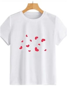 Beddinginn Standard Short Sleeve Round Neck Heart Shaped Western Women's T-Shirt