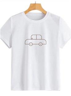 Beddinginn Short Sleeve Standard Hand Painted Round Neck Straight Women's T-Shirt