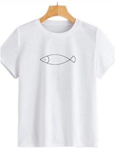 Beddinginn Animal Standard Short Sleeve Round Neck Fashion Women's T-Shirt