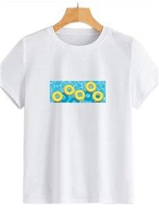 Beddinginn Short Sleeve Standard Round Neck Hand Painted Women's T-Shirt