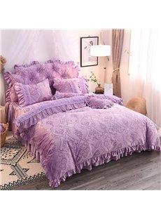 Elegant Style Crystal Velvet Princess Style 4-Piece Fluffy Bed Skirts Duvet Cover