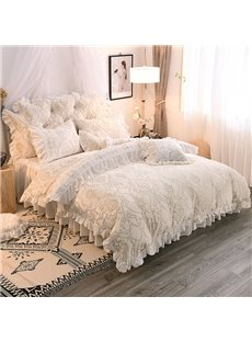 Advanced Jacquard Crystal Velvet Princess Style 4-Piece Fluffy Bed Skirts Duvet Cover