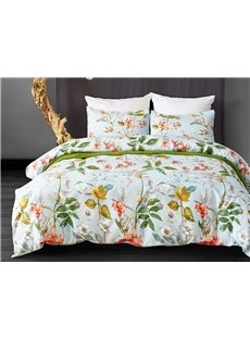 Durable Fresh Flowers Printed Polyester 3-Piece Bedding Sets/Duvet Cover