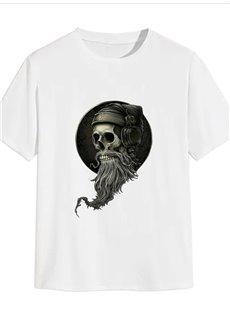 Beddinginn Short Sleeve Skull Round Neck Standard Summer Women's T-Shirt
