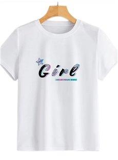 Beddinginn Short Sleeve Round Neck Standard Letter Straight Women's T-Shirt