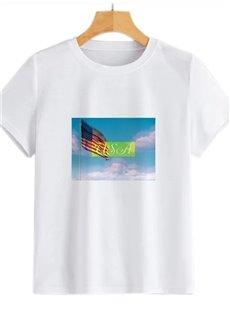 Beddinginn Letter Casual Round Neck Standard Short Sleeve Women's T-Shirt