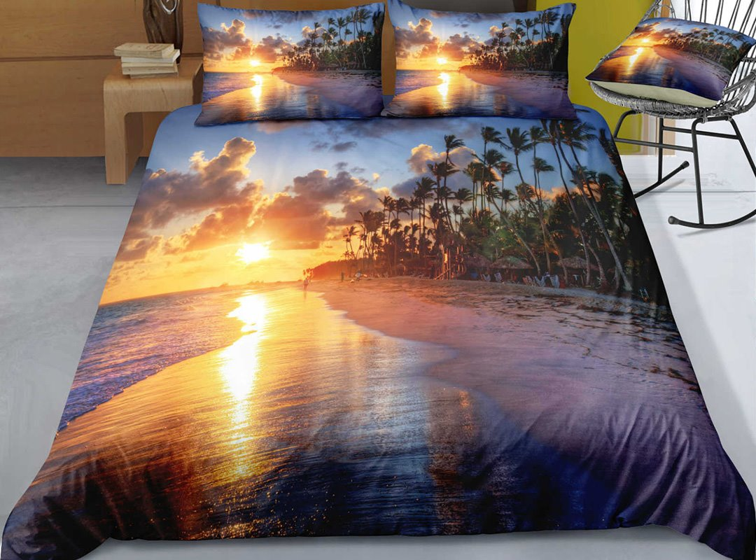 Breathable And Comfortable The Setting Sun Printed 3-Piece 3D Bedding Sets/Duvet Covers