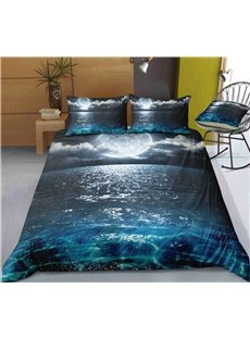 Breathable The Moon On The Sea Printed 3-Piece 3D Bedding Sets/Duvet Covers