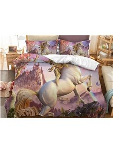 Slap-up Jumping Unocorn Printed 3-Piece Polyester Bedding Sets