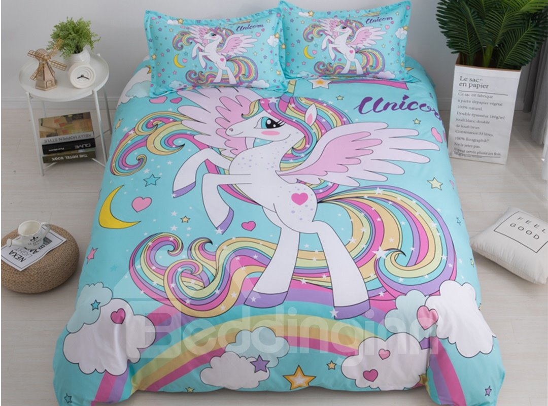 Naturally Soft Rainbow And Unicorn Printed 3-Piece Phyester Bedding Sets