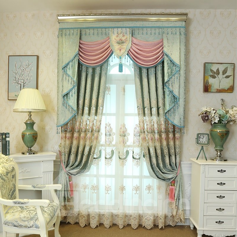 Vintage Floral Light Green Living Room Bedroom Window Sheer Curtains Beddinginn Com