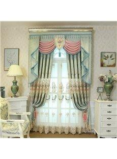 Vintage Floral Light Green Living Room/Bedroom Window Sheer Curtains