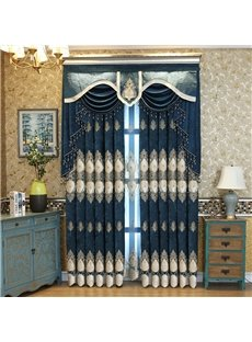 Luxury Embroidery Decoration European Style Dark Blue Custom Grommet Top Curtain